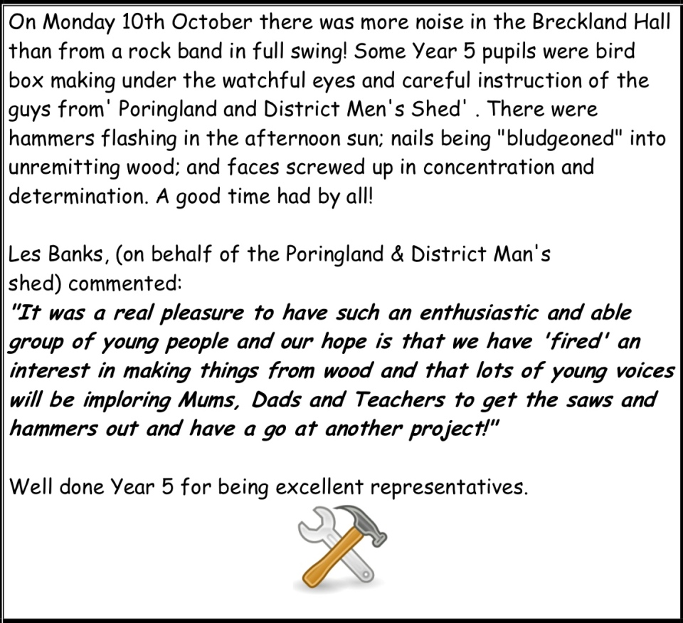 Extract from Queenshill school newsletter