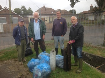 Working party clears Memorial Field ditch.