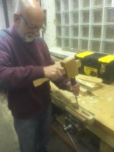 Gwynn making mortice joint.