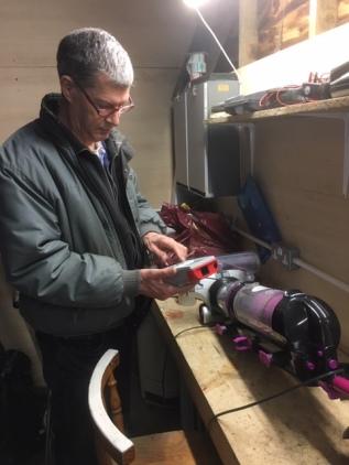 Pete PAT Testing a repaired vacumn.