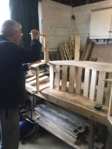 Tree bench for local school takes shape.